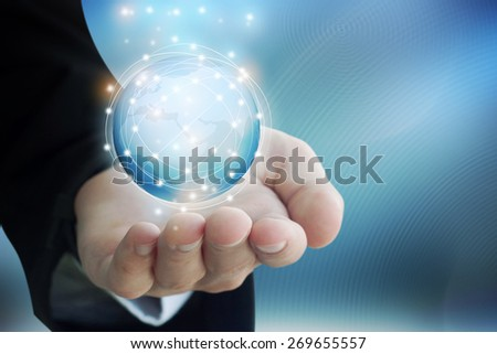 Hand with World Map and Globe icon