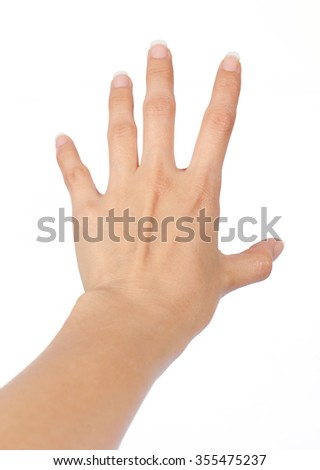 hand women grab posting ,isolate on white background