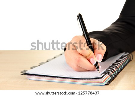 Hand write on notebook, on white background