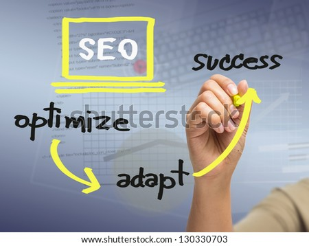 Hand writing SEO strategy concept - stock photo