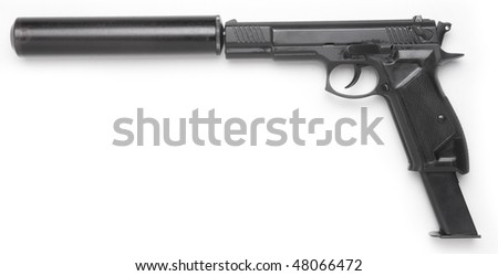 handgun with the long magazine and silencer isolated on white