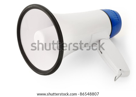 Handheld megaphone on white background, as used in public speaking.