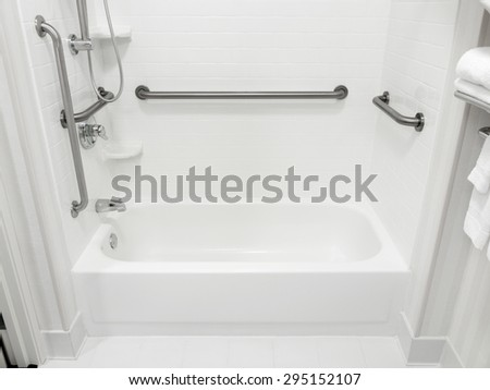 Handicapped Access Bathroom Grab Bars Toilet Stock Photo 295152173