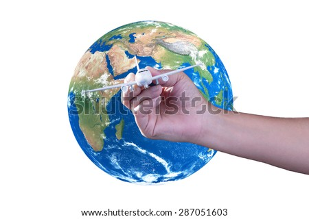 Handle model airplanes, The concept,Travel around the world, Elements of this image furnished by NASA