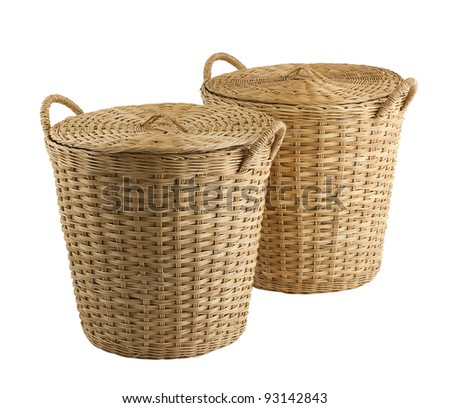 Handmade basket the old fashioned Thai style handicraft for storage rice stuff vegetable or others