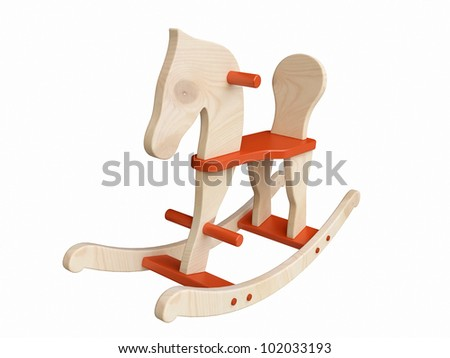 Baby riding rocking horse Stock Photos, Illustrations, and Vector Art