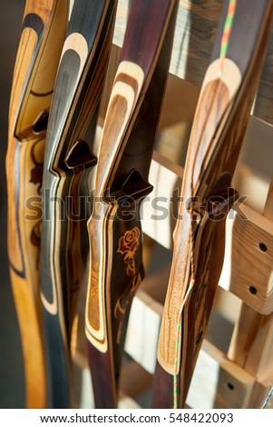 Many Metal Golf Clubs Leather Baggage Stock Photo