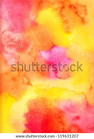 Handmade yellow pink watercolor background, aguarelle painting colorful abstract backdrop for your design.