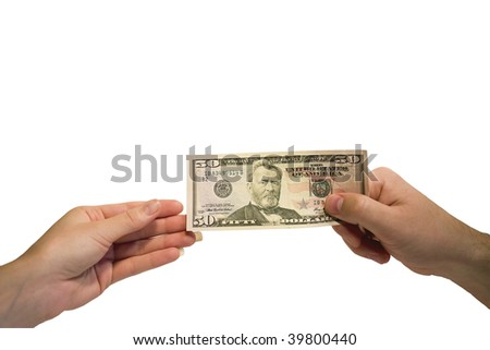 Hands and money banknote on white background