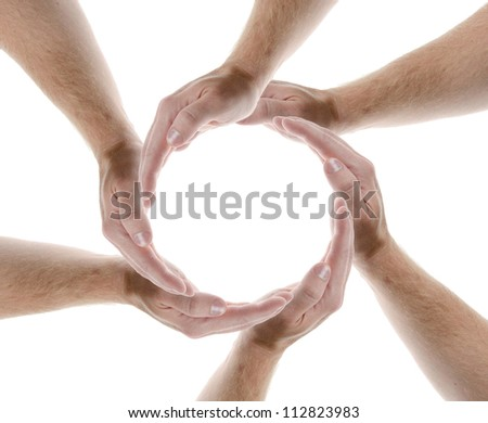 hands creating a circle isolate don white background