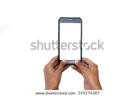 hands holding cellphone with space for text