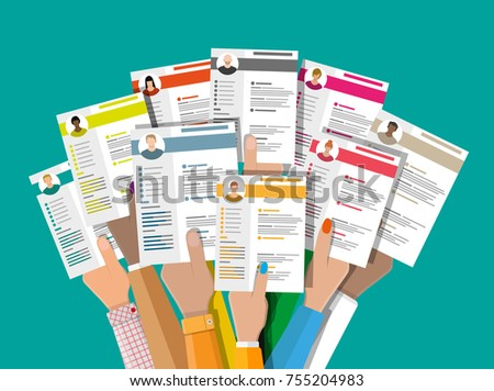 hands holding cv resume documents human stock illustration