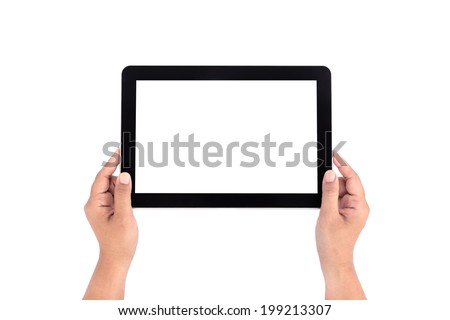 Hands holding tablet isolated on white background