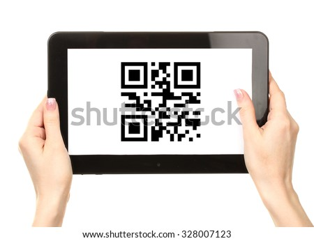 Hands holding tablet PC with QR code on screen