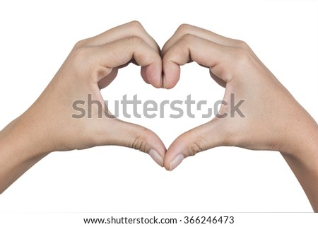 Hands in shape of love heart isolated on white background