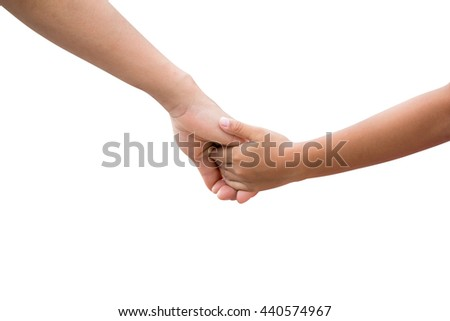 Hands of the mother and baby. Walk hand in hand. Symbolic warmth of the family isolated on white background.clipping path