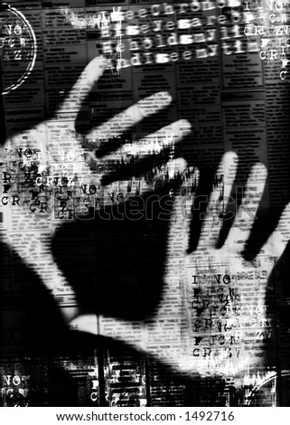 hands on screen (digital composition)
