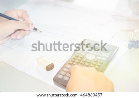 Hands with Calculator and notepad. Hands with Calculator, notepad, business concept.
