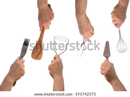 Hands with kitchen tools on a white background