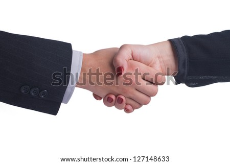 Handshake between female and male hand in a business style isolated on white background