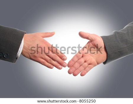 Handshake with gray background