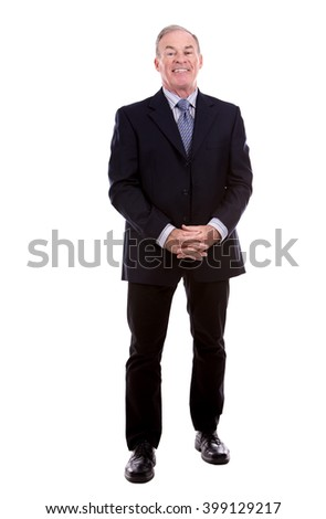 handsome caucasian man wearing business suit on white background