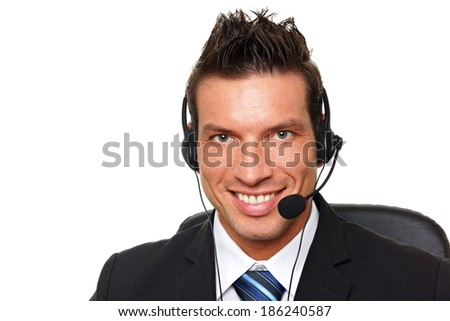 Handsome customer service operator with headphones and microphone