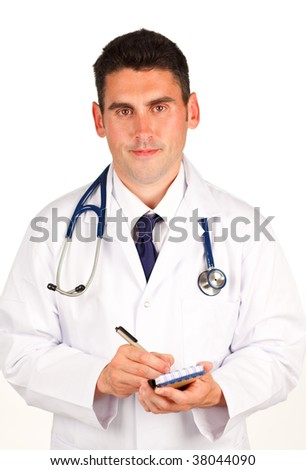 Handsome Doctor writing a diagnosis