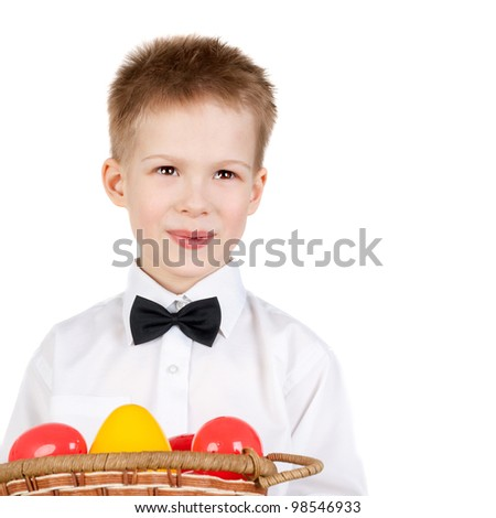 handsome little boy with the easter eggs