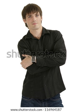 handsome man in a black shirt on a white background