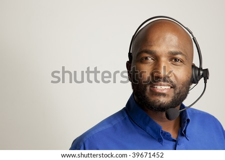 Handsome man with telephone headset
