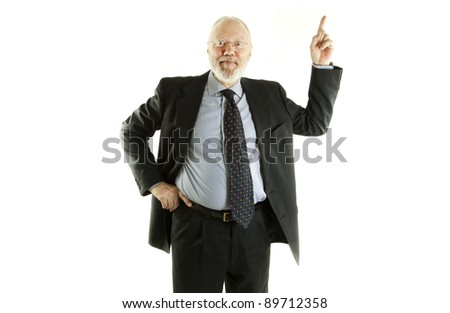 Handsome mature business man pinting finger up on white background