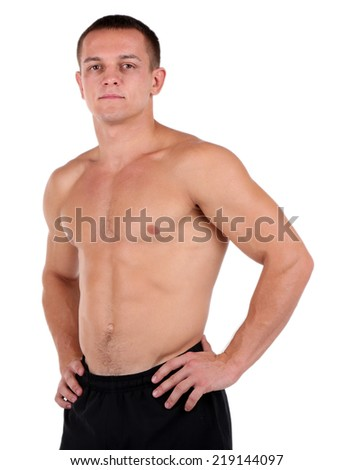 Handsome muscle young man isolated on white