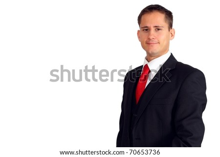 Handsome young business man in a suit and west
