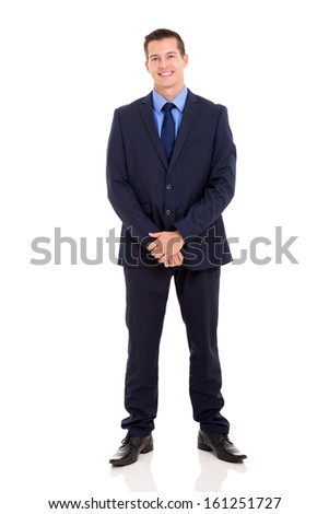 handsome young businessman in a suit on white background