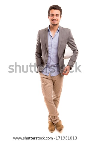 Handsome young engineer posing isolated over white background
