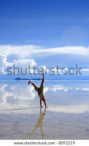 Handstand on the saltflats