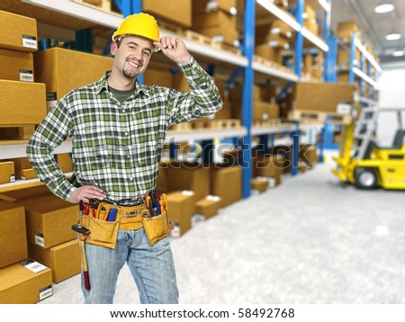 handyman, classic warehouse and forklift in action