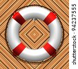 hanged life buoy over wooden texture, abstract art illustration - stock photo