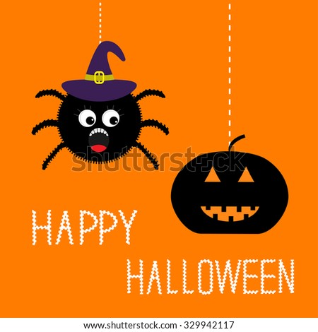 hanging spider in witch hat and pumpkin happy halloween card flat design