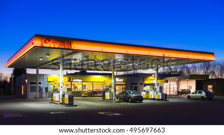 Hannover, Germany - April 06, 2015: Shell gas station at night in Hannover, Germany