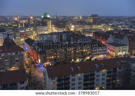 Hannover, Germany - February 17, 2015: Aerial view of Hannover at evening. Lower Saxony. Germany.