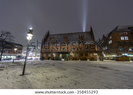 Hannover, Germany - January 04, 2016: Snow in Hanover is very unusual occurrence. Hannover old city covered with snow in january at evening.