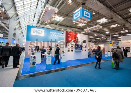 HANNOVER, GERMANY - MARCH 15, 2016: Booth of Western Digital company at CeBIT information technology trade show in Hannover, Germany on March 15, 2016.