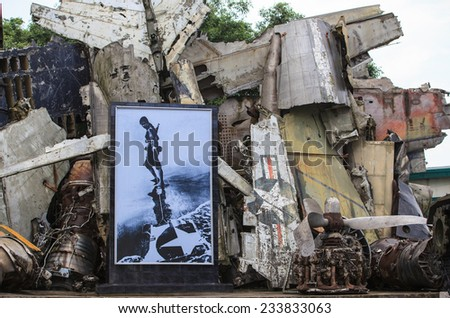 Hanoi, Vietnam - APRIL 12, 2012: War memorial made of remains of shacked down French and American aircrafts. Military History Museum of Hanoi