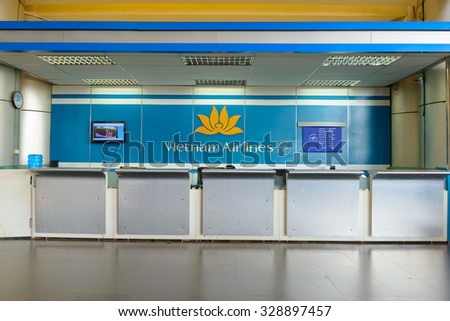 HANOI, VIETNAM - MAY 11, 2015: Vietnam Airlines desk. Vietnam Airlines has a network within East Asia, Southeast Asia, Europe and Oceania.