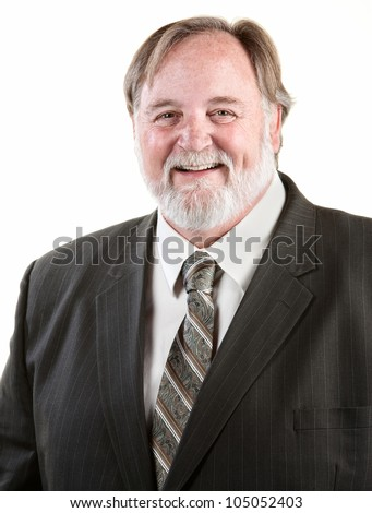 Happy adult laughing man over white background
