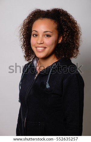 Happy afro-american woman isolated on background