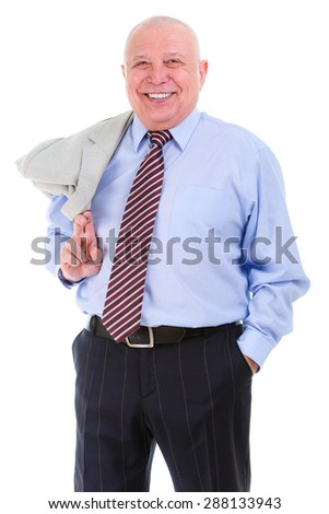 Happy and smile old mature business man in shirt and tie, self-confident, holds a suit jacket over shoulder, isolated on white background. Positive human emotion, facial expression