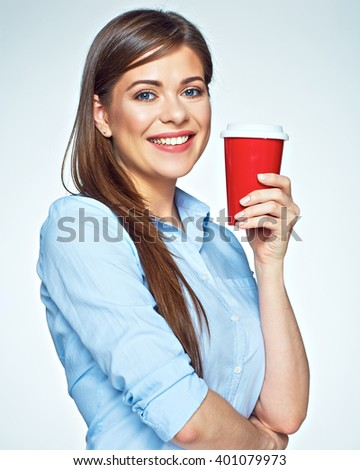 Happy beautiful woman holding red coffee cup. White background isolated.
